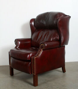 Vintage Hancock Moore Brown Leather Wing Back Library Recliner Lounge Chair