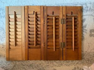 Vintage Wood Shutters 16 X 5 1 2 Inches Set Of 4 2 Connected 2 Loose