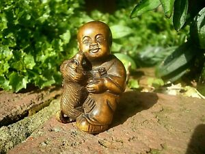 Hand Carved Wood Netsuke Boy Plays With Puppy Dog Boxwood Collectable Figurine