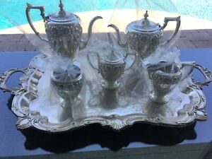 6 Pc Hand Made Museum Quality Artcraft Repousse Sterling Coffee Tea Set Silver