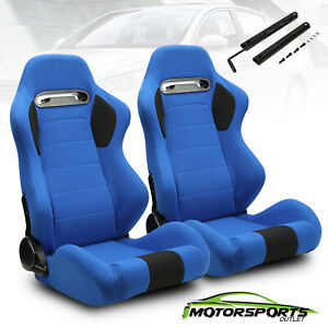 2 X Blue Pineapple Main black Side Left right Racing Seats Adjustor Slider