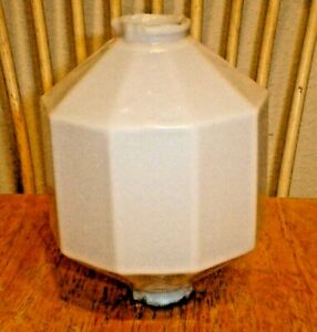 Antique D S White Milk Glass 10 Sided Paneled Lightning Rod Ball For Weathervane
