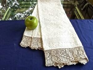 Antique Art Deco Textile Hand Woven Textured Bath Show Towel Crochet Trim 22x46