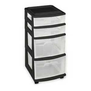 Homz 05564bkec 01 Storage Chest 4 drawers Black clear