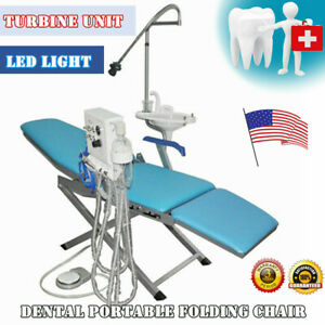 Dental Portable Folding Chair Turbine Unit Led Light Weak Suction Water Suppy
