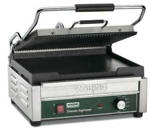 Waring Commercial Wdg250 Ribbed Top Plate Flat Bottom Plate Panini Grill 17