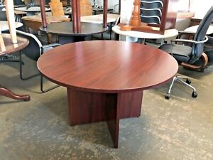 Round Conference Table By Basyx By Hon Office Furn In Mahogany Laminate 48 d
