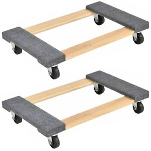 Furniture Dolly Moving Cart Platform 1000 Lbs Rectangle Wood Home Mover Platform