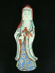 Antique 19th C Chinese Porcelain Famille Rose Guanyin Figure Statue 8 7 8 H