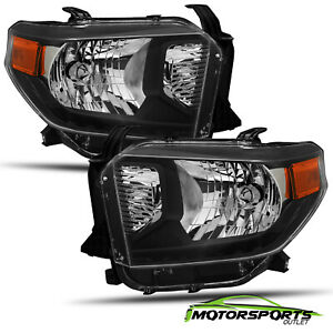 For 2014 2018 Toyota Tundra Black Replacement Crystal Headlights Pair 2015 2016