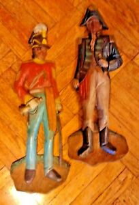 Pair Of Wood Antique Vintage Soldier Wall Hanging