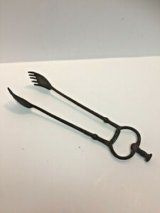 Antique Cast Iron Stove Coal Tongs Claw Fireplace Tool Primitive 16 L