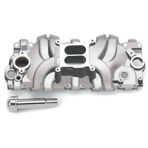 Edelbrock Intake Manifold 7159 Dual Plane Satin Aluminum For Chevy 348 409 w