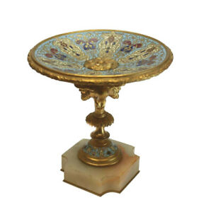 French Champleve Enamel Bronze Compote On White Marble Base Circa 1900
