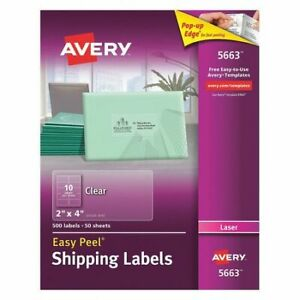 Avery 5663 Clear Shipping Labels laser 2 x4 pk500
