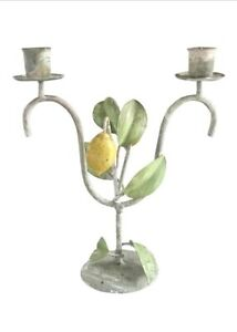 Vintage Italian Lemon Tree Tole Toleware Candle Holder