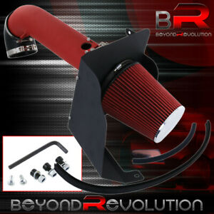 Red Cold Air Intake Kit System Heat Shield For 09 13 Chevy Silverado 1500 V8