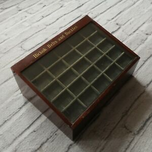 Antique 1920s Hickok Belts Buckles Wooden Glass Display Case 20s Vintage