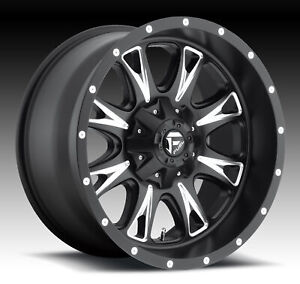 Four 4 18x9 Fuel Throttle Et 20 Black Milled 6x135 Wheels Rims