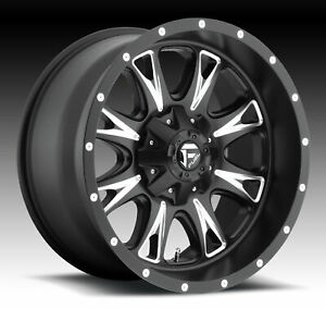 Four 4 20x10 Fuel Throttle Et 24 Black Milled 6x135 Wheels Rims