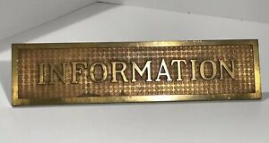 Beautiful Antique 1 4 Heavy Brass Information Desk Sign W Decorative Milling