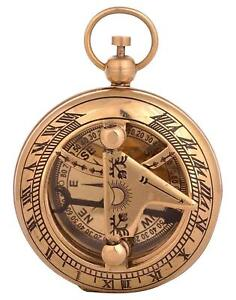 Nautical 2 Solid Brass Hand Made Push Button Sundial Compass Vintage Compass