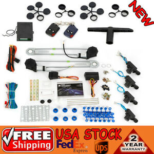 Electric 2 Power Window Conversion Kit Roll Up 4 Door Lock For Car Truck 12v