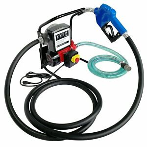 110v 40l min Electric Oil Transfer Pump W Hose Nozzle And Mechanical Fuel Meter