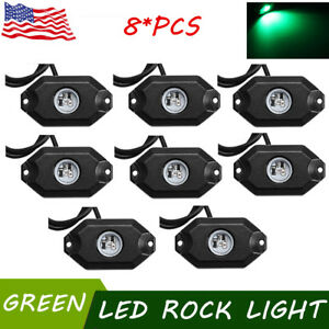 8x Green 9w Led Rock Lights Offroad Music For Atv Suv Boat Truck Under Off Road