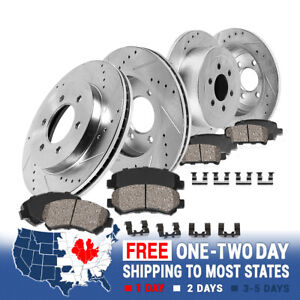 Front And Rear Drilled Slotted Brake Rotors And Ceramic Brakes For Chevy Gmc
