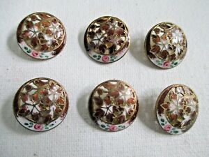 Six Antique Victorian Rose Enamel Pierced Metal Set Of 6 Round Buttons