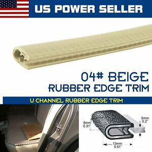 4pcs 3ft Car Accessory Rubber Trim Door Seal Strip Molding Lock Beige Auto Parts