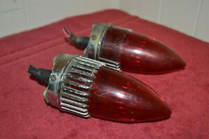 Original 1959 Cadillac Red Mount Rear Tail Brake Light Lamp Set