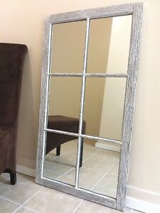 Large Beautifully Distressed Farmhouse Mirror Made In Usa Solid Oak 6 Panes