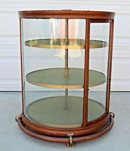 Vtg Antique Curved Glass Rotating Crystal Display Case Showcase Store Display
