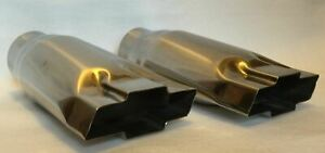 Polished Stainless Steel 3 Chevy Bowtie Exhaust Tips Pair