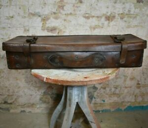 Antique Leather Military Arrow Gun Case Ammo Trunk Suitcase Stamped Br