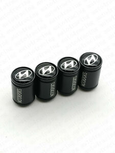 Black Car Wheel Tire Valves Dust Stems Air Caps Keychain Hi Emblem For Hyundai