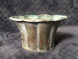 Antique Chinese Hammered Silver Tone Copper Arts And Crafts Era Flared Vase