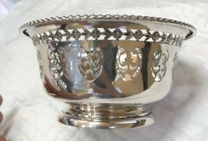 Vtg 1945 Birks Pierced Sterling Silver Gadroon Serving Candy Footed Bowl 23 53