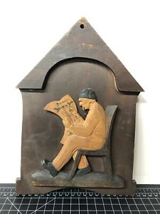 Vintage Wooden German Hand Carved Sculpture Man Reading Newspaper Plaque 8x11