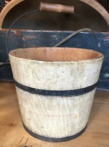 Antique Small Grain Painted Wooden Bucket