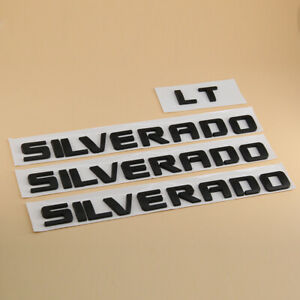 4pc set Matte Black Emblems Badges Nameplate Letter For Silverado 1500 2500hd Lt