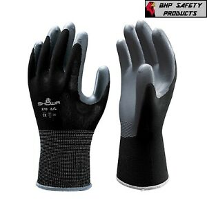 Showa Atlas Fit 370 Black Nitrile Gardening Work Gloves 1 Dozen sm xl