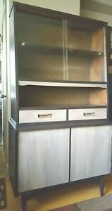 Vintage Mid Century Modern Wood Hutch Buffet Credenza Cabinet Counsel