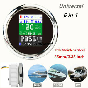 6 In 1 Universal Multifunction Gauge Car Gps Odometer Speedometer For Boat Yacht