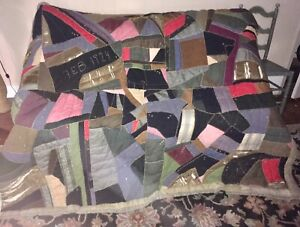 Antique 1924 Vintage Crazy Quilt Patchwork American Folk Art Handmade 66x80