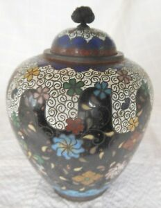 Good Small Antique Japanese Cloisonne Meiji Ginger Jar With Cover