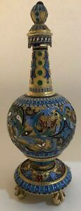Big Antique Imperial Russian Enameled 84 Silver Vessel