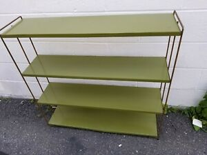 Mid Century Modern Mcm Green Gold Painted Metal Bookcase Bookshelf 4 Shelves